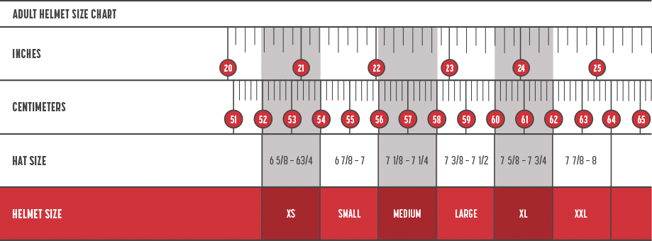 Simpson adult helmet sizing chart